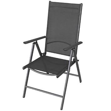 FOTOS PRODUKT AUS: Aluminium Hochlehner Gartenstuhl Positionsstuhl  Liegestuhl Mit Textilenbespannung Lehne 7 Positionen Verstellbar Klappbar  Anthrazit.