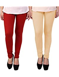 BrandTrendz Red And Peach Cotton Pack Of 2 Leggings