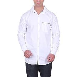 Cotblend Men's Casual Shirt (CB-CBN-White-XL, White, XL)