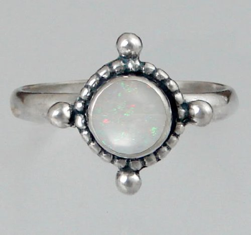 Sterling Silver Filigree Ring Featuring a Genuine Opal Made in America