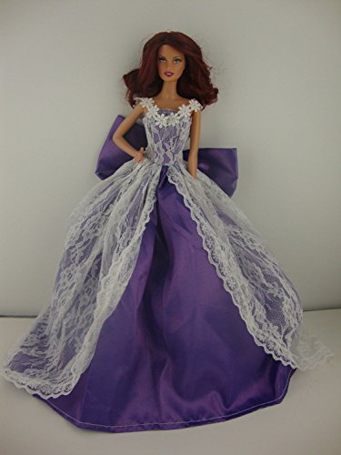 A Beautiful Purple Ball Gown with White Lace Botice and on the Skirt Made to Fit the Barbie Doll - 1
