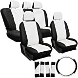 OxGord 17pc Leatherette Seat Cover Set, Airbag Compatible, for FORD PROBE, White & Black