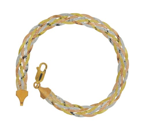 9ct Three-Colour Gold Plait Herringbone Bracelet 18cm