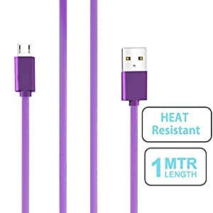small candy Nylon Braided Micro USB Cable with Super fast charging up to 2.4Amps For HTC Desire 326G -Purple