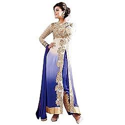Parabdhani Fashion Women's Georgette Semi Stitched Suit (PBF_DM_266_Blue_Free Size)