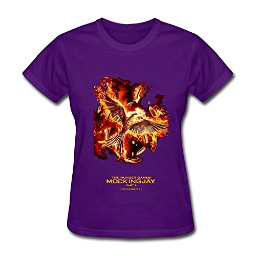 HUBA Women's Tee The Hunger Games Mockingjay - Part 2 Purple Size XL (Ashley Bed Parts compare prices)