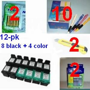 A great deal 12 Pack. Refurbished Cartridges for HP 92 and HP 93 ink Cartridges for 8ea HP 92 + 4ea HP 93 + (2) 12 digit calculator + 10 ball pen + (2) cutter, snap off, + 8-pk AA batteries, great Value........!!!!...