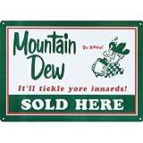 Mountain Dew Soda Sold Here Retro Vintage Tin Sign