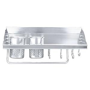 Soledi Kitchen Organizer, Wall Hanging Multifunctional Aluminum Kitchen Wall Rack, Wall Shelf, Condiment Bottle Rack, Utensil / Pot / Pan Hanger Hook, Towel Hook, Kitchen Organizer Storage Rack