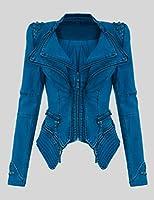 2014 Ladies Punk Spike Studded Vintage Denim Jacket Tight Coat Funky Cinch Waist
