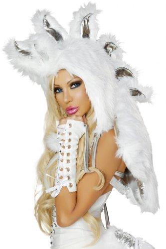 [J Valentine Women's Pegasus Unicorn Hood Sexy Halloween Costume One Size White] (J Valentine Unicorn Costume)