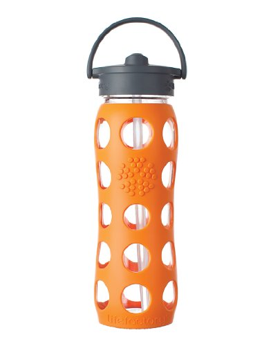Lifefactory Glass Beverage Bottle with Straw Cap, 22-Ounce, Orange