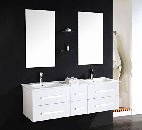LUXUS4HOME-Design-Doppel-Badmbel-Set-Serpia-Dual-wei-Waschtisch-Set-150cm-inkl-2-Armaturen-und-Spiegeln-mit-Glasregalen-Badezimmermbel-Set-mit-Keramik-Waschbecken