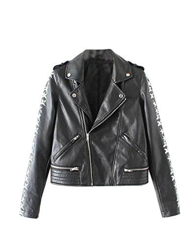 SaiDeng Giacca Donna Giubbotto Biker In Pelle Pu Zipper Risvolto Collare Jacket Nero XL