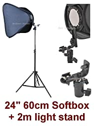 Studio Portable Hot Shoe Flash Softbox Stand Kit for Canon EOS 450D, 1000D, 550D, 400D, 500D, 350D, Xsi, T1i, T2i, Xti, XS, XT, 50D, 40D, 10D, 20D, 7D, 5D Mark II, 1D Mark II, III, IV, 1Ds