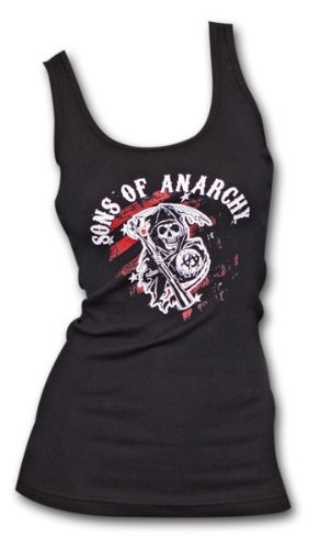 Sons Of Anarchy Red Reaper Black Ribbed Ladies Graphic Tank Top