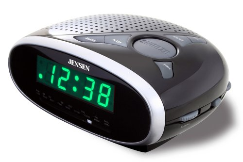 Jensen JCR175 AM/FM Alarm Clock Radio with 0.6-Inch Green LED Display