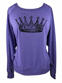 YogaColors Black Heart Tri-Blend Light Weight Raglan Pullover (Small, Orchid Crown)