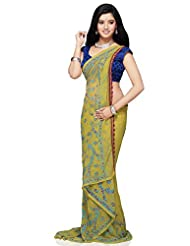 Utsav Fashion Women's Light Olive Green Viscose Georgette Saree with Blouse
