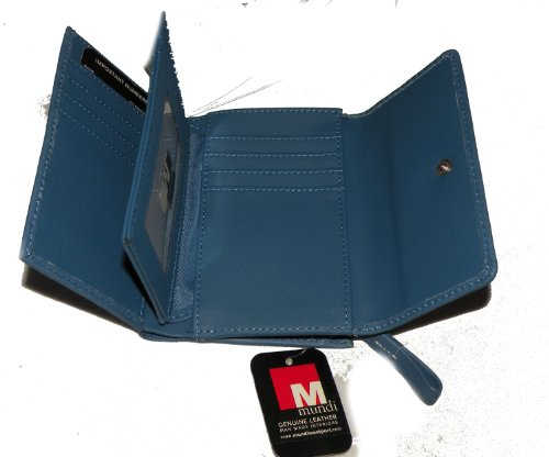 Mundi Blue Leather Trifold Wallet
