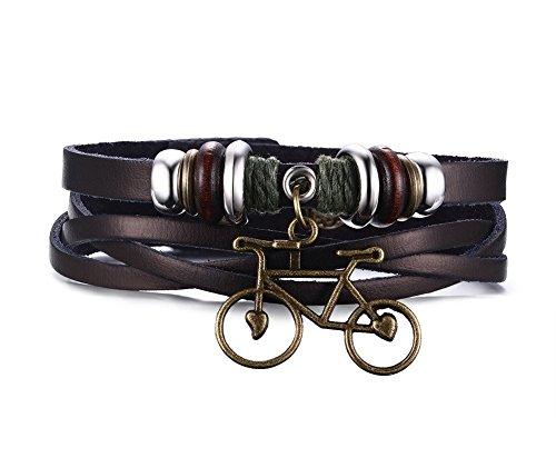 Vnox da bicicletta da uomo, in vera pelle, cinturino a forma di braccialetto con strati in tinta unita, colore: marrone, lunghezza 21,5 cm