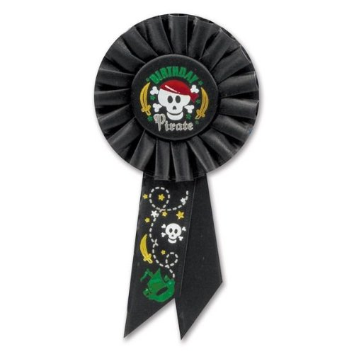 Beistle RS195 Birthday Pirate Rosette, 3-1/4-Inch by 6-1/2-Inch