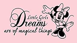 Minnie - Dreams - Vinyl Decal Sticker for Wall Nursery Children\'s Room Quote - Black - 23 Inches - Peel and Stick - Removable Decor ART (Minnie Mouse Dream)