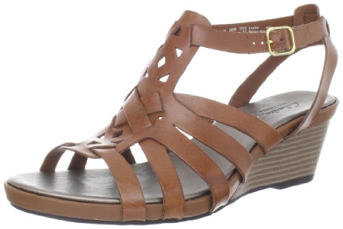 Clarks Women'S Clarks Lucia Coral Wedge Sandal,Tan,9.5 M Us front-460173