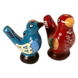 Sanyork Fair Trade Ocarina Clay Chirping Whistle Bird Set of Three Hand Made~peru