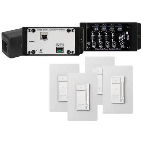 On-Q/Legrand Digital Audio 4 Room Expansion Kit, Light Almond (AU7054-LA)