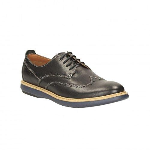 Clarks Habillé Homme Flexton Wing Cuir Chaussures De Noir