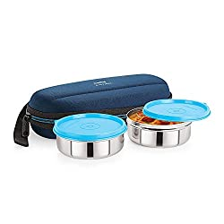 Cello Max Fresh Super Steel Lunch Box Set, 2-Pieces, Blue
