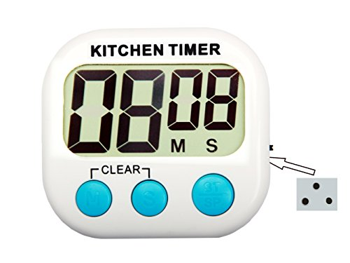 LeFeng Digital Kitchen Timer with Big Screen, Adjustable and Loud Alarm, 3 Stronger Magnets, Stand, Battery Included and Auto Power Off, Enjoy the Food with Timekeeper, Countdown or Countup, White (Kitchen Timer Kitchen Aid compare prices)