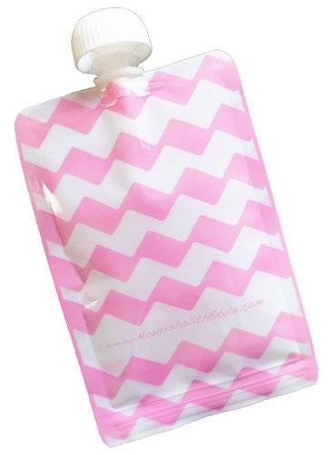 Reusable Baby Food Pouch - 5 Pack Pink Chevron - 5 oz size by Nourish with Style