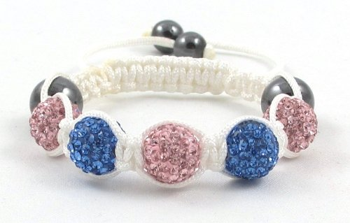 05-Ball Children Kids Girls Boys Petites Teen Pink Blue Bead Shamballa Bracelet on White String