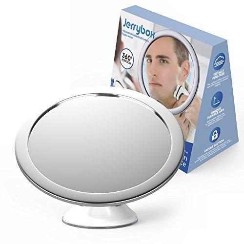 neuf jerrybox miroir de douche anti bue et anti brouillard salle de bain pour rasage et maquillage orientable 360 degrs pliable ventouse mural - Miroir Salle De Bain Antibuee Radio