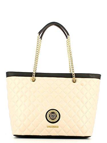 LOVE MOSCHINO Borsa Shopping Donna Trapuntato Nappa Avorio Nero JC4014PP11LA010A