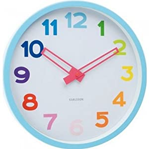 Horloge murale enfant rainbow couleur multicolore mati re plastique cuisine maison for Horloge murale multicolore