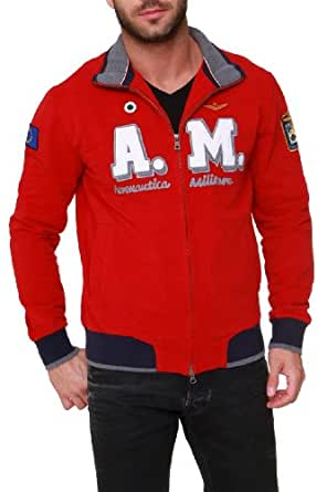 Aeronautica Militare Zip Through Sweatshirt LOGO, Color: Red, Size: S