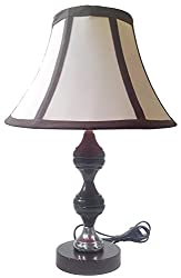 Brown Silver Stand Table Lamp with 10 Round Slanting Cream with Black Border...