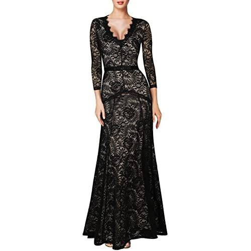 Miusol Women's Vintage Style Lace 3 4 Sleeves V Neck Long Dress