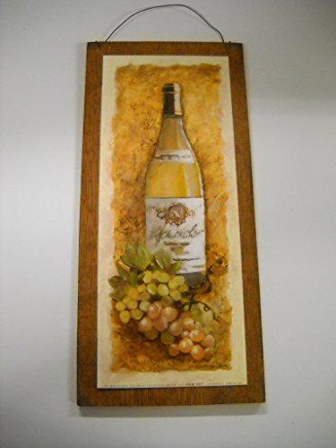 Chardonnay White Wine Bottle and Grapes Kitchen Wooden Wall Art Sign * (Grapes Kitchen Accessories compare prices)