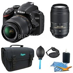 Nikon D5200 24.1 Mp Cmos Digital Slr Camera (Bronze) With 18-55Mm F/3.5-5.6G Af-S Dx Vr And 55-300Mm F/4.5-5.6G Ed Vr Af-S Dx Nikkor Zoom Lenses + En-El14 Battery + 10Pc Bundle 32Gb Deluxe Accessory Kit