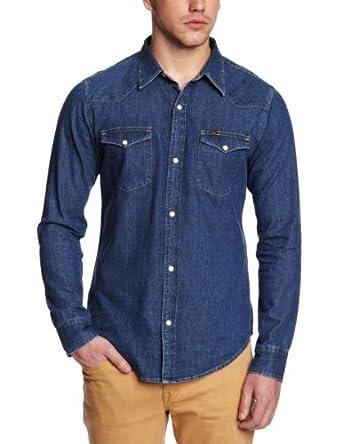 Lee - western - chemise - coupe cintrée - homme - Bleu (Bleu Afbr) - FR : Small