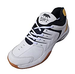 Port Unisex Spark White PU and Crepe Sole Badminton Shoes-6
