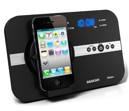 AZATOM® iWake Radio Alarm Docking Station for iPod, iPhone, Touch and Nano / Designed in the UK / Lots of special features / 18 Watts of power ensures a Powerful Sound in any room / Brushed Aluminium and High Quality Matt Black finish
