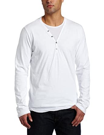 VELVET BY GRAHAM & SPENCER Men's Long Sleeve Henley Shirt, White, Medium