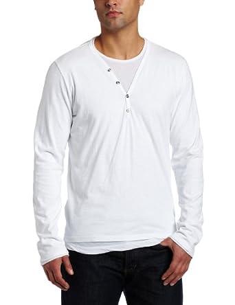 VELVET BY GRAHAM & SPENCER Men's Long Sleeve Henley Shirt, White, Medium