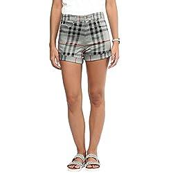 Hypernation Green and Black Burbry Check Cotton Shorts For Women