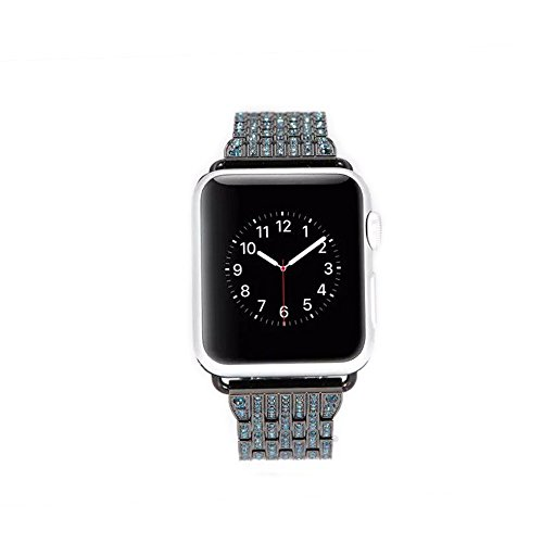 Apple Watch Band, 38mm Solid Stainless Steel Apple Watch Strap with Dual Folding Clasp Bling Crystal Rhinestone Diamond Female Replacement Band for Apple Watch 38mm (L16)(Space Gray 38mm)